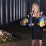 A wildly colorful feather handpainted  wrap, lined with black velvet for an exciting night out.