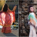An ornate Indian bridal handpainted scarf , a perfect compliment to a vintage exquisite handpainted silk wrap fringed with feathers.